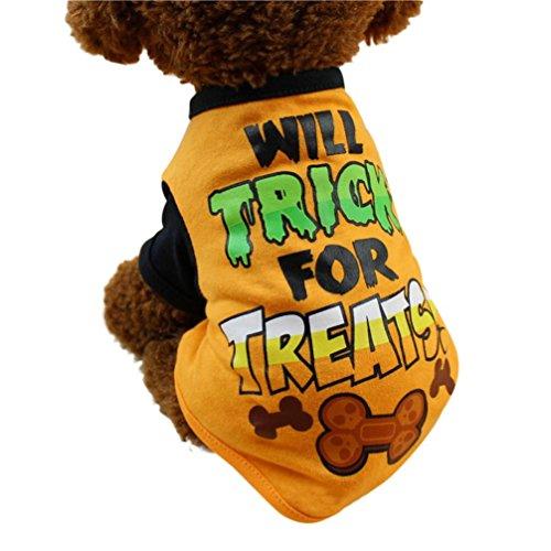 Haustierkleidung,Nettes Hundekleidung Haustier Cool Halloween t-Shirts Kleidung Small Puppy Kostüm von Sannysis (Orange, L)