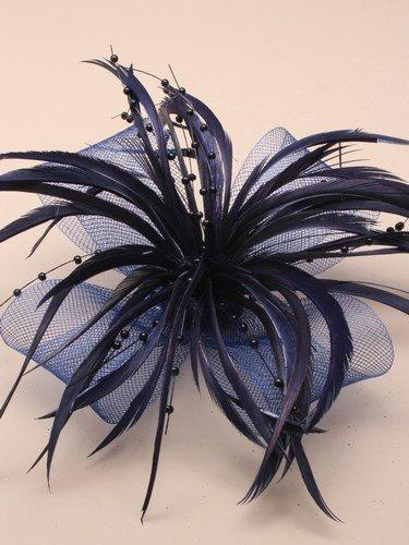grande-perline-rete-fiocco-fascinator-con-piuma-on-clip-a-becco-fermaglio-blu-navy-ref-784