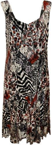 WearAll - Damen Übergröße floral animal print Spitze gesäumt lange Maxi-Kleid - 2 Farben - Größe 42 - 56 Tan Braun