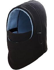 F-fook multiusos cálido forro polar Headwear pasamontañas cuello caliente máscara de cara completa prueba de viento Sombrero parasol para bicicleta moto Ski Snowboard deporte al aire libre, negro