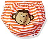 Kiko & Max Baby Boys' Absorbant Reusable Swim Diaper, Monkey (Orange), M
