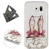 Keyye Samsung Galaxy S6 Coque Étui en gel de silicone, Transparent anti-Scratch antichoc gelée en caoutchouc gel doux TPU protection de la peau avec motif coloré-Chaussures de ballet