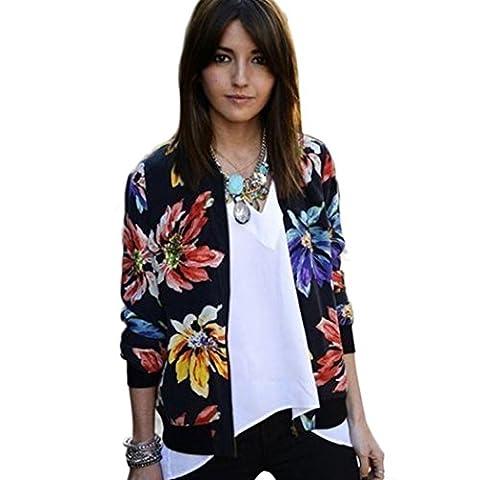 Manteau Veste Blouson Femme, Amlaiworld Manches longues Imprimé Fermeture Costume Blazer Outwear (M, Multicolore)