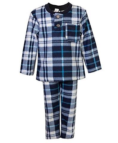 Kinder Nachtwäsche Pyjama Jungen Mädchen Fleece Pyjama Set Hemd Hose Nachtwäsche - Blau, 1-2 Jahre / DE 86-92