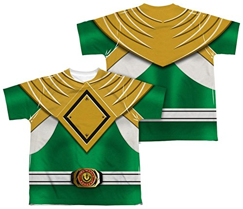 Mighty Morphin Power Rangers Evil Green Ranger Kostüm F/B Big Boys 2Side Print Gr. S, weiß (Mighty Morphin Power Rangers Kostüm T Shirt)