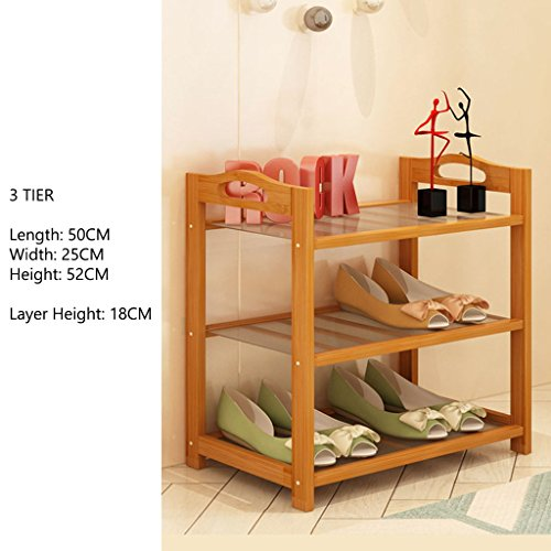 Stand De Chaussure pour Chambre À Coucher Couloir 3 Niveaux D'espace De Stockage D'économie Organizer Small Bamboo Shelf Longueur 50 CM (Taille : 3 Tier)