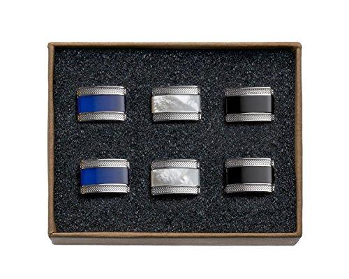VALDERO® Herren Manschettenknöpfe - Men's Essentials in Box (Blau Perlmutt Schwarz) (3 Paar - Silbernes Metall)