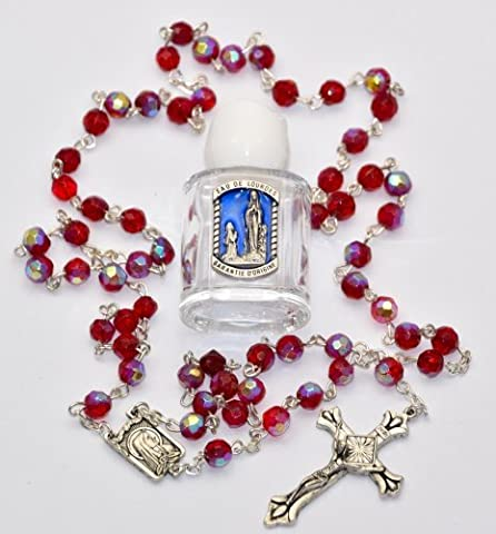 Ruby Rosary Beads & Bottle of Blessed Lourdes Water FROM LOURDES