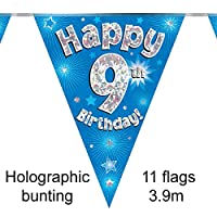 Happy 9th Birthday Blue Holographic Foil Party Bunting 3.9m Long 11 Flags