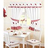 Just Contempo - Juego de cortinas para cocina (117 x 107 cm), diseño de amapolas y cuadros, color blanco y rojo, poliéster, rojo, 2 cortinas 168 x 137 cm