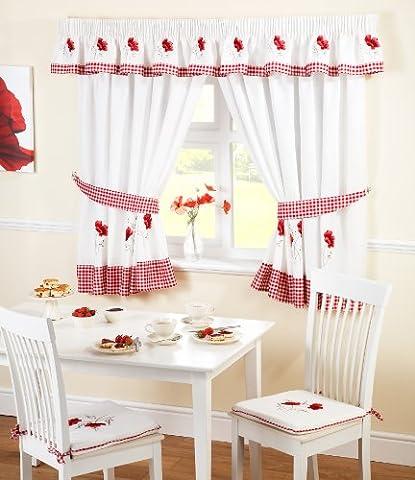 Just Contempo Rideaux de cuisine prêts à poser Motif vichy/coquelicots Blanc/rouge, Polyester, rouge, Paire de rideaux 117 x 122 cm