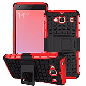 Heartly Flip Kick Stand Spider Hard Dual Rugged Armor Hybrid Bumper Back Case Cover For Xiaomi Redmi 2 / Redmi 2 Prime Dual Sim - Hot Red