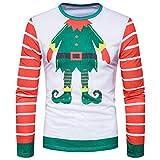 Weihnachtspullover Männer URSING Herren sweatshirt Xmas Langarm Shirt Pullover Herbst Winter Bluse Weihnachten Drucken Herren Lange Ärmel T-Shirt Bluse Langarmshirt Rundhals (Christmas G, XL)