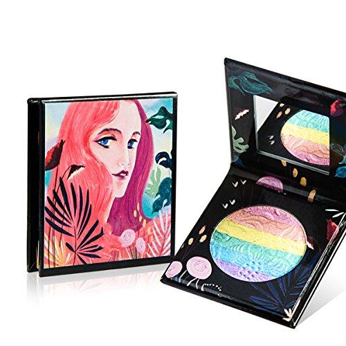 Maquillaje Arcoíris Highlighter Sombra de ojos en polvo de larga duración Sombra de ojos a prueba de agua Cosmética Shimmer Blush Contour Palette (2 )