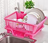 #3: TiedRibbons 3 IN 1 Large Drying Rack dish drainer plastic basket for kitchen with tray for Kitchen (High Quality Plastic)