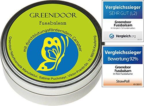 Greendoor Fussbalsam mit BIO Kakaobutter, jetzt den VERGLEICHSSIEGER kaufen, Fusscreme + Schrundensalbe, 4-fache Ergiebigkeit, Naturkosmetik, Fuß Balsam, Fuss-Pflege Creme (Sulfat-salbe)