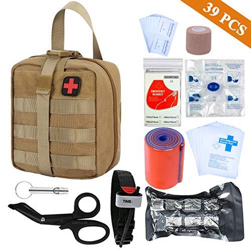 GRULLIN Survival Erste-Hilfe-Sets 39 Stück Tragbare israelische Bandage Tourniquet Splint Rolle EMT-Schere Survival Bag, praktische professionelle Erste-Hilfe-Sets für Outdoor, Raum, Auto(Tan)