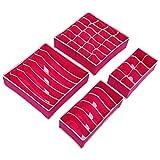zhang-hongjun,4pcs receptáculos Plegables, Sujetadores, gabinetes de Ropa Interior, receptáculos y cajones(Color:Rosa)