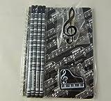 Musique papeterie orientée Notebook Set - A5 Black Music Score Sheet Spirales Notebook, Piano Eraser, Treble Clef clip et 4 Notes de musique Crayons