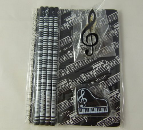 Music Themed Papelería Notebook Set - A5 Negro Music Score Sheet Encuadernado con espiral Notebook, Borrador Piano, Clave de sol Clip y 4 notas musicales Lápices
