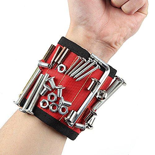 Magnetische Armbänder, KOLIER Magnetarmband mit 10 Leistungsstarken Magneten, Verstellbares Klettband zum Halten von Werkzeugen / Schrauben / Nägel / Bohren Bits und Kleinwerkzeuge