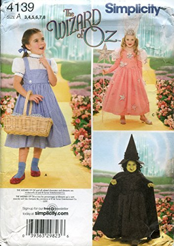 Simplicity Muster Kinder Zauberer von Oz Kostüm Muster 3–5–6-7–8–Wicked Hexe, Glenda und Dorothy 4139 (Bag Paper Pattern)