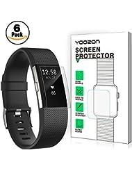 Fitbit Charge 2 Schutzfolie [6 Stück],Yoozon Klar PET HD Unsichtbar Bildschirmschutz [Ohne Peeling] [Volle Abdeckung][Blasenfrei] für Fitbit Charge 2, Lebenslange Garantie