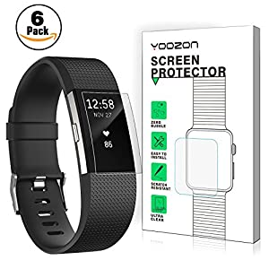 Fitbit Charge 2 Screen Protector [6 Pieces], Yoozon Clear PET HD Invisible Screen Protection [NO-Peeling off] [Full Coverage] [Bubble Free] for Fitbit Charge 2, Lifetime Warranty