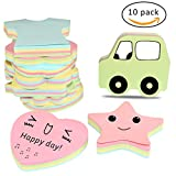 Espoy Sticky Notes Self-sticky Note carnets de notes adhésives papier Couleurs assorties 10 tampons de formes différentes (10, 100 feuilles par bloc)