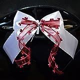 Miya@ 10 hochwertige Handgemacht Weiss Antenneschleifen mit Herzschleifen aus Satin, Auto Schleifen, Hochzeit Deko, Autoschmuck (weinrot)