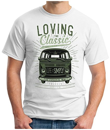 OM3 - LOVING-CLASSIC - T-Shirt ORIGINAL OLDTIMER LIFE is SIMPLY PEACE KULT AUTO BUS CULT CARS GEEK, S - 5XL Weiß