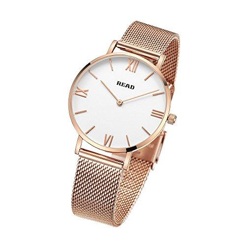 READ Reloj para Mujer, Reloj de Cuarzo, Marca de fábrica Superior, Relojes de Pulsera ultrafinos (Gold White)