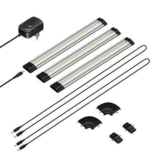 parlat LED Unterbau-Leuchte SIRIS, flach, je 30cm, 100cm Kabel, 220lm, warm-weiß, 3er Set