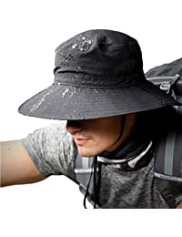5c9649d7d71c7 TourKing Mens Sun Hat Summer Wide Brimmed Bucket Hat UV Protection Bush Hat  Foldable Safari Boonie Hat Water Resistance Fisherman…