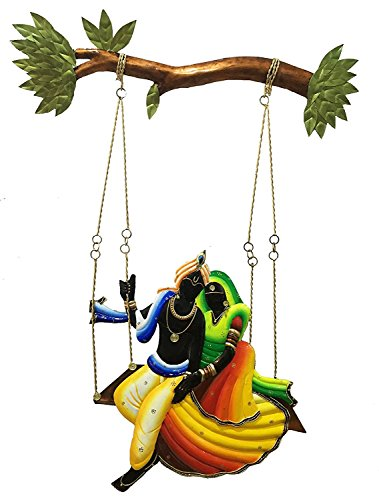 Karigaari Radha and Krishna Riding on Jhul Iron Wall Hanging (56.59 cm x 39.19 cm x 2.39 cm)