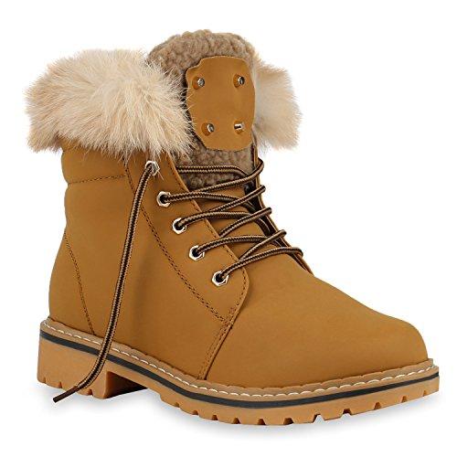 Warm Gefütterte Damen Stiefeletten Fell Outdoor Boots Winterschuhe Hellbraun
