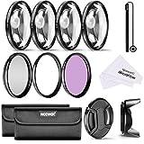 Neewer 55mm Professionel Kit de Filtre et Macro Gros Plan pour Canon EOS 400D/Xti, 450D/Xsi, 1000D/XS, 500D/T1i, 550D/T2i, 600D/T3i, 650D/T4i, 700D/T5i, 100D, 1100D; Nikon Sony Samsung Fujifilm Pentax et D'autres Appareils Photo Reflex avec 55mm Filetage de Filtre - Inclus Ensemble de Filtre (UV, CPL, FLD) + Macro Gros Plan Kit (+1, +2, +4, +10) + Sac de Transport pour Filtres + Tulipe Parasoleil + Bouchon d'Objectif avec Laisse de Bouchon Garde + Chiffon de Nettoyage en Microfibre