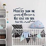 WSLIUXU Psaume 93: 4 est plus fort que l'océan est son amour pour vous vinyle Sticker pépinière Wall Art décoration Bible citation Home Garden Wall Sticker Teal 80x57cm