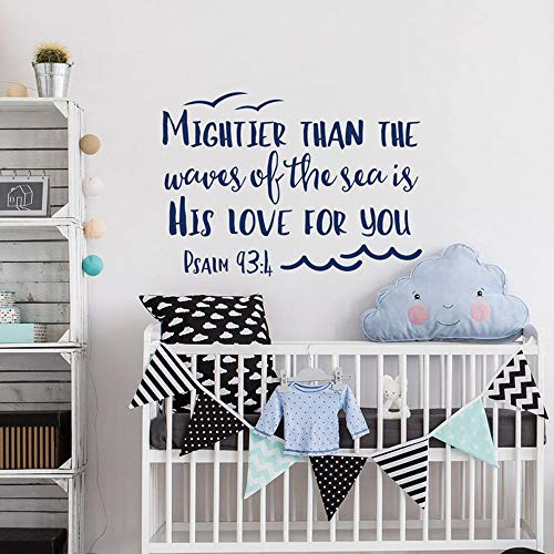 WSLIUXU Psalm 93: 4 ist stärker als der Ozean ist seine Liebe für Sie Vinyl Wandtattoo Kinderzimmer Wandkunst Dekoration Bibel Zitat Hausgarten Wandaufkleber Königsblau 42x30cm