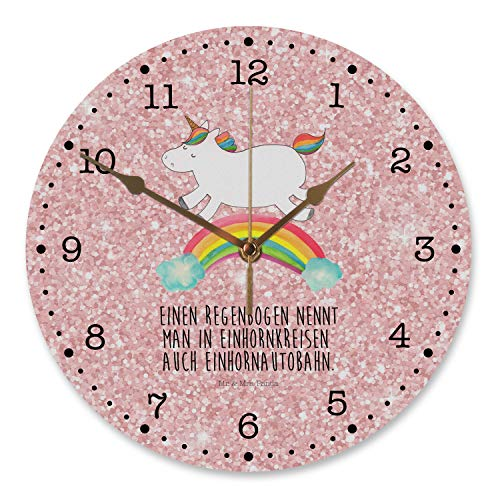Mr. & Mrs. Panda Uhr, Kinderzimmer, 30 cm Wanduhr Einhorn Regenbogen mit Spruch - Farbe Glitzer Rosa