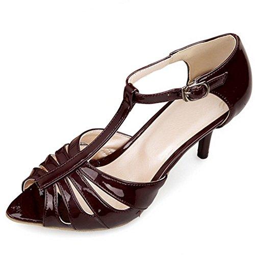 TAOFFEN Femme Mode Peep Toe Courroie en T Boucle Mince Talon Haut Soiree Ete Sandales vin rouge