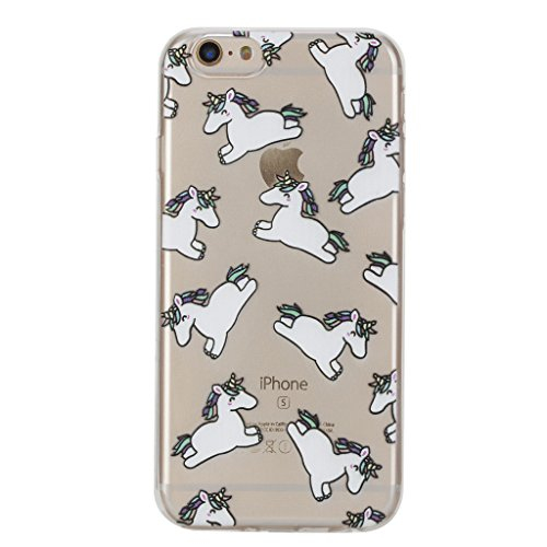 Per iPhone 7 custodia [with free Screen Protector], Kwapo® ultra slim posteriore trasparente morbido TPU silicone gomma bumper Clear creative pattern design flessibile Protector custodia cover per App Unicorn