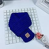 Bravehope Kinderschal Herbst und Winter Warmer Gestrickter Wollschal mit Etikett, königsblau, 130cm*9cm