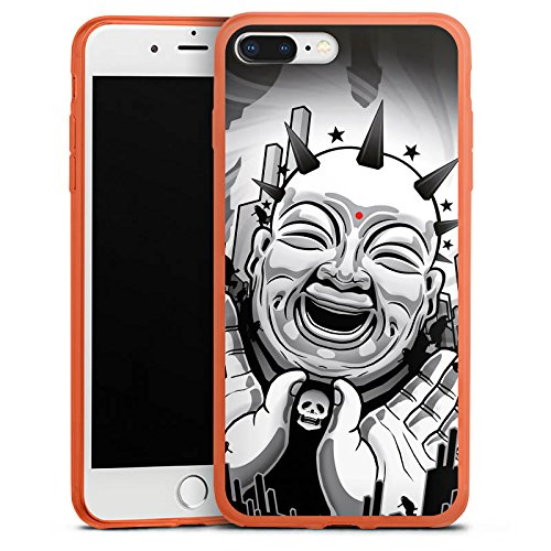 DeinDesign Apple iPhone 8 Plus Slim Case transparent neon orange Silikon Hülle Schutzhülle Buddha Schwarz Weiss Black White