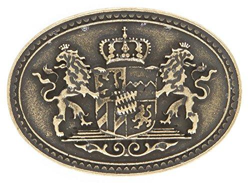 Gürtelschnalle - Bavaria-Löwe-Krone - Buckle/Koppel mit Landeswappen. Exklusive u. hochwertige Gürtelschließe. Messing (Krone Messing Pferd Aus)