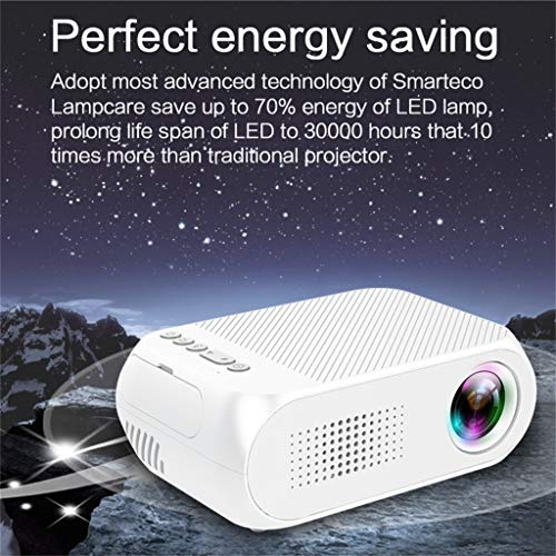Qmber Mini Projektor Video Beamer Handy Projektoren YG320 1080P HD LED Projektor Mini 3D Heimkino Theater Mit Lautsprecher Heimgebrauch (132.6 x 85 x 49.8 mm, Weiß) Digital Projector Ceiling Mount