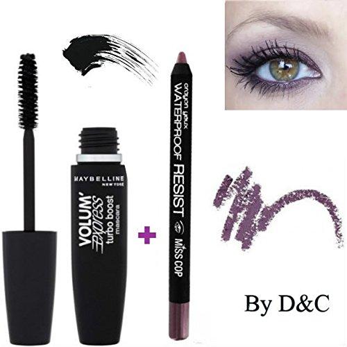 Kit/Set Mascara Gemey Maybeline Turbo Volum' Express Noir + Crayon Yeux Waterproof inclus (Violet)