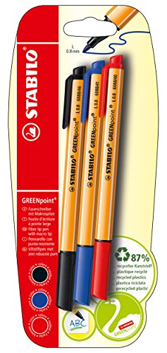 STABILO GREENpoint Pack of 3 in Blister Packaging Blue/Black / Red-Fibre tip of 96% recycled plastic
