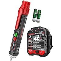amropi Non-Contact AC Voltage Pen Detector and Advanced RCD Electric Socket Tester with Voltage Backlight LCD Display (1 Pen & 1 LCD Socket Tester)