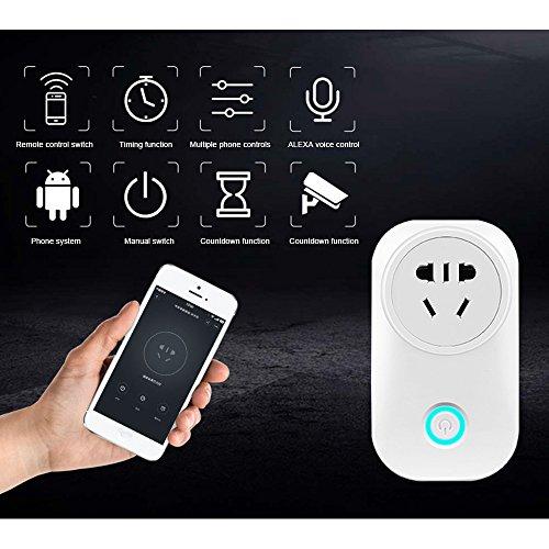 Bainuojia WLAN Steckdose Intelligente Smart Plug mit Fernsteuerung inkl Zeitsteuerung Energiesparfunktion Kompatibel mit Alexa [Echo, Echo Dot] mit App Steuerung überall und zu jeder Zeit